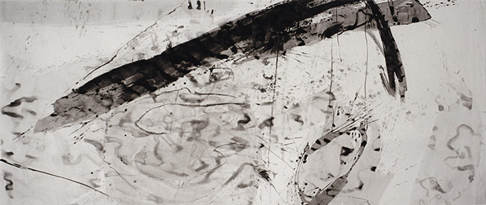 Watching Water, To Peter Greenaway, tinta da china s/ papel, china ink on paper, 150 x 347 cm, 1996