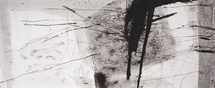Water Distances I, tinta da china s/ papel, china ink on paper, 150 x 364 cm, 1996