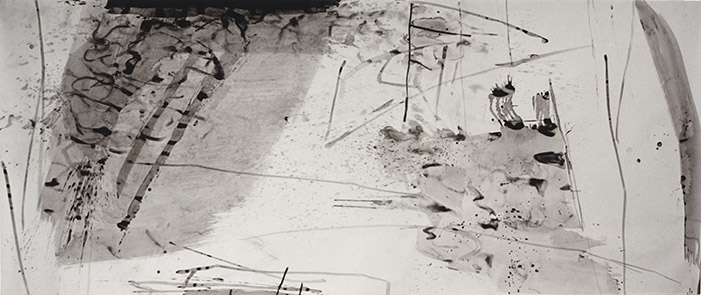 Water Distances II, tinta da china s/ papel, china ink on paper, 150 x 361 cm, 1996